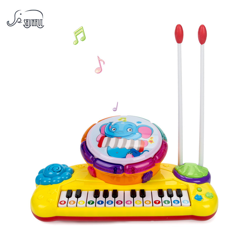 SHUNHUI Electronic Piano Keyboard Baby Toy Musical Instruments for Kids Beating Knocking Hand Drum Light Children Education Toys