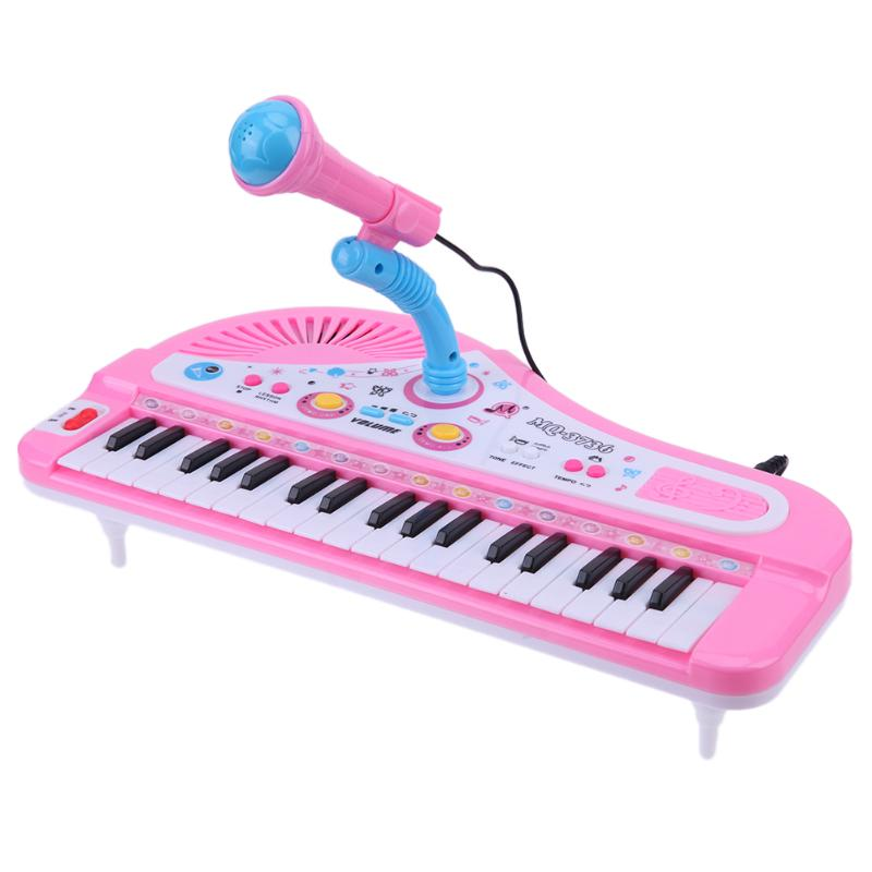 Multifunction 37 Keys Electronic Piano Kids Musical Toy with Recharged Mic Children Keyboard Musical Instrument Learning Toys