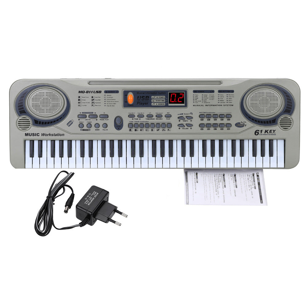 "Children 21"" Beginner Electric Piano Electone LED 61 Keys Keyboard USB MP3 With Microphone Education Toy For Kid Gift"