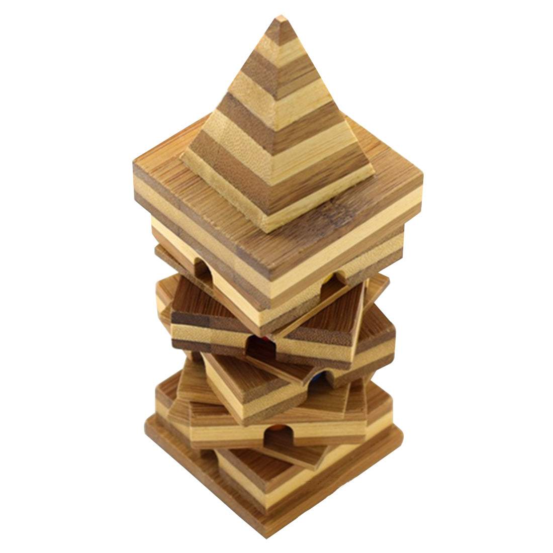 Bamboo Pyramid Design Kong Ming Lock Table Game Children Learning Educational Toys