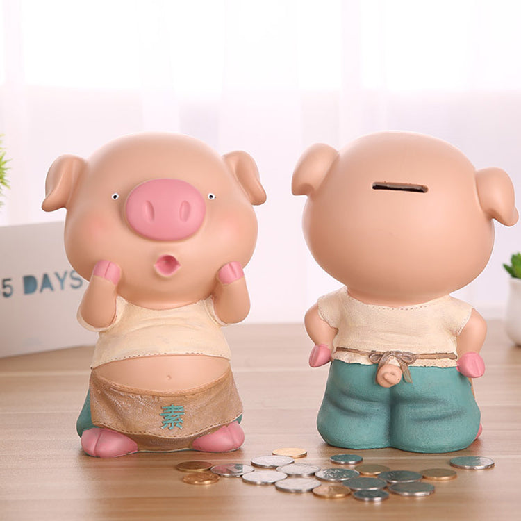 Durable anti broken cartoon piglet and sheep sister medium storage money pot friends birthday gift