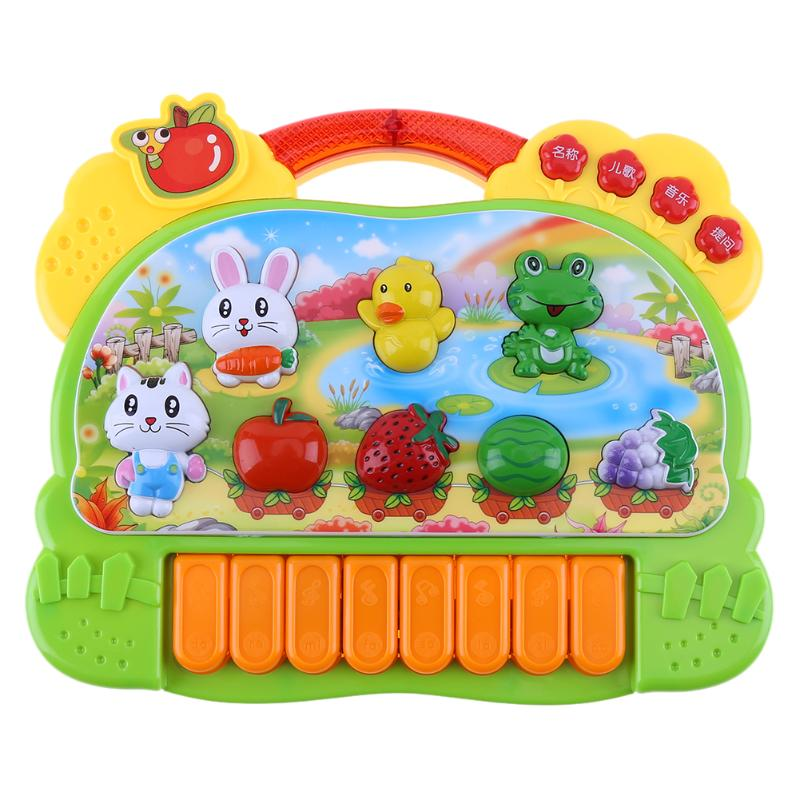 Cute Plastic Electronic Piano Music Sound Instrument Cartoon Animal Baby Infant Songs Playing Type Piano Early Educational Toy