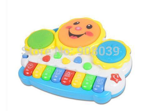 Free Shipping  Animal Farm  Piano Music  Toy   Light-up Music Smile  Hand Drum  Childhood Learning Toys  Musical