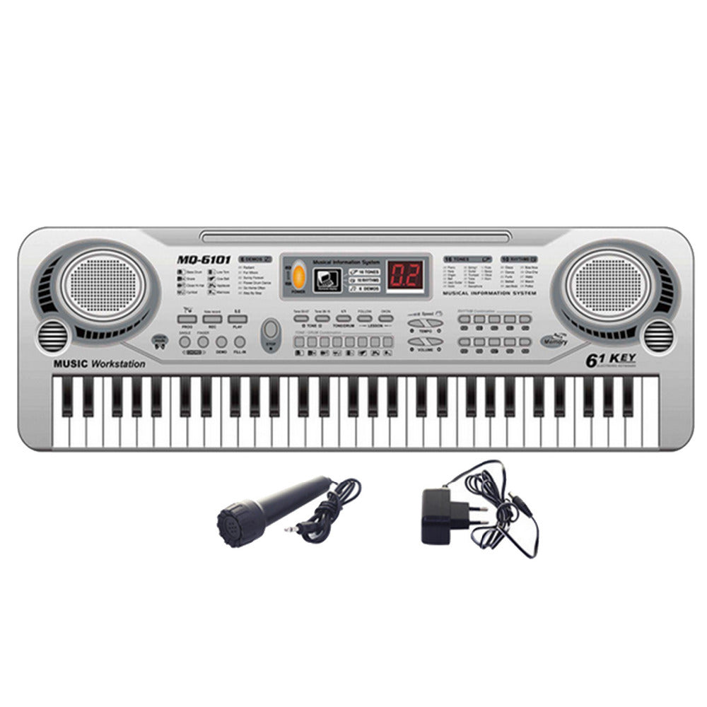 Children Kids 61-Key Music Electronic Keyboard Toy Piano Educational Electone Toy with Microphone
