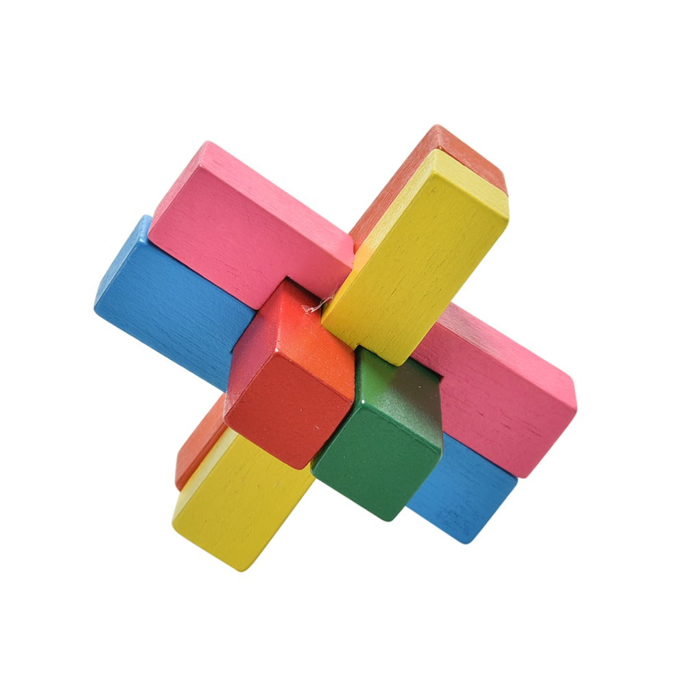 Classical Intellectual Toys Magic Cube Kid Toy Colorful Kong Ming Lock Luban Lock Wooden Toy for Adult Children