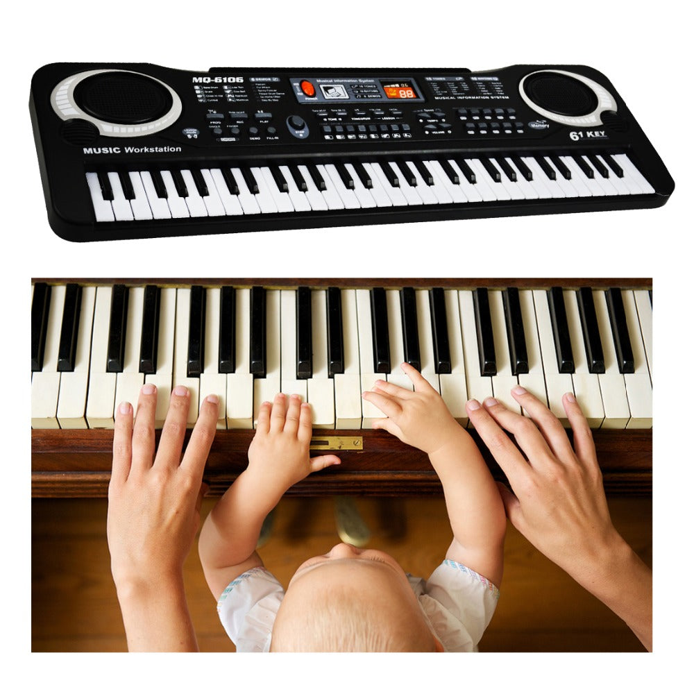 61 Key Portable Electronic Keyboard Piano Organ with Teaching App Songs Mulit-Function Musical Educational Christmas Toy Gift