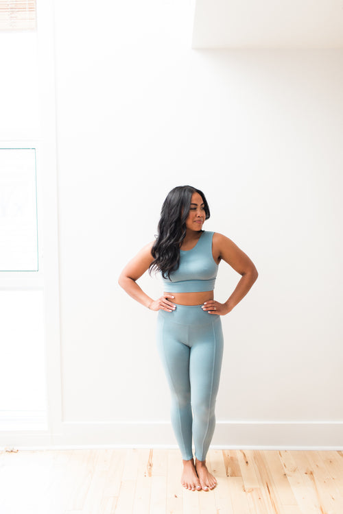 Playa Leggings - Poolside / Blue - Nourish Sweat Soul