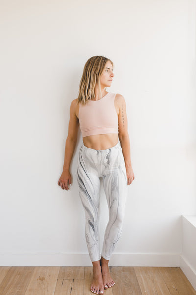 Playa Leggings - Marble / White - Nourish Sweat Soul