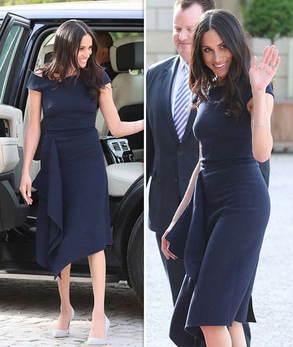 MEGHAN MARKLE WEARS THE BARWICK DRESS