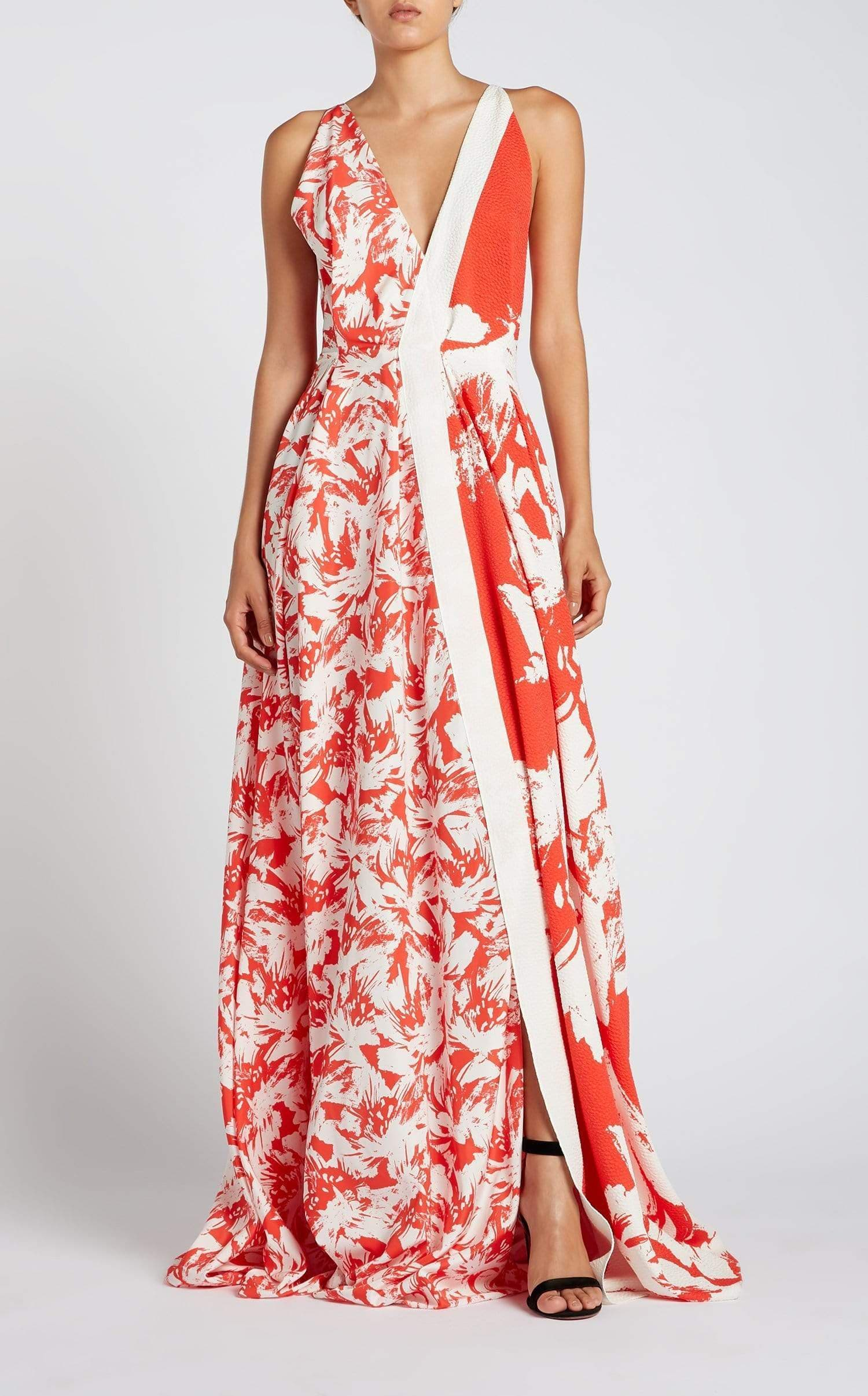 Berkeley Gown In Red/Red Lrg Painterly from Roland Mouret