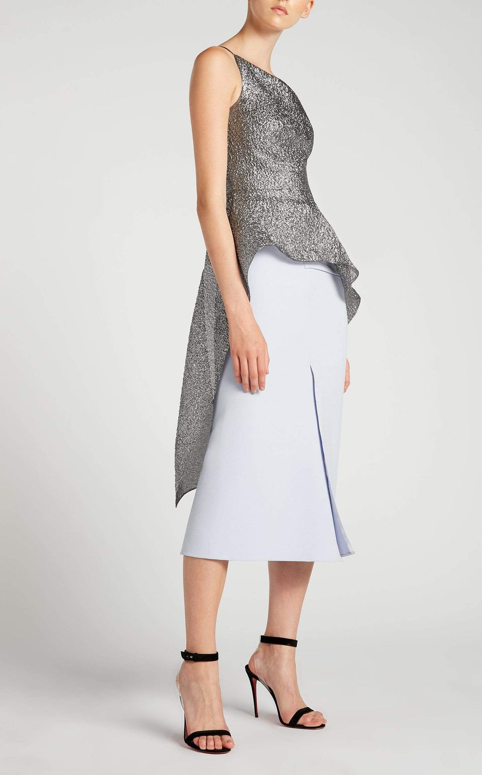 Caplan Top In Dark Silver from Roland Mouret