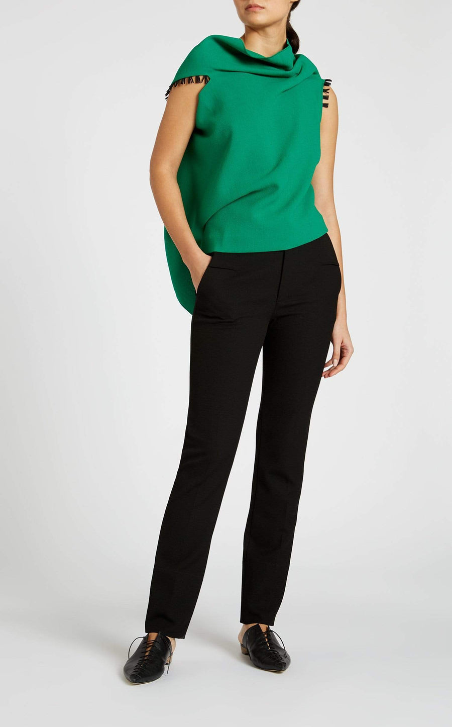Eugene Top In Emerald/Black from Roland Mouret