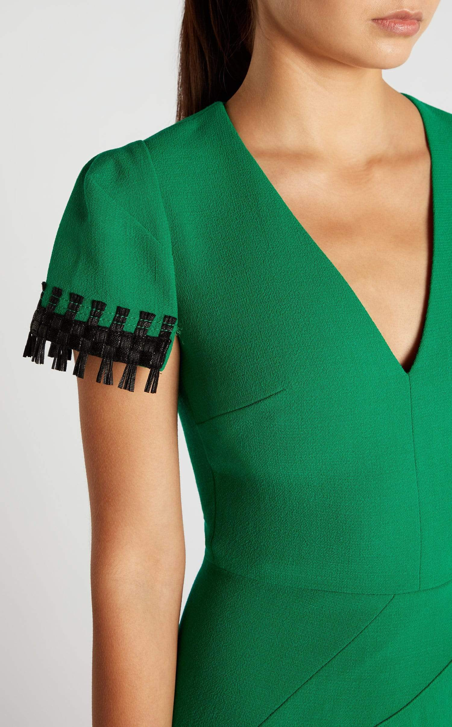 Fortana Dress In Emerald/Black from Roland Mouret