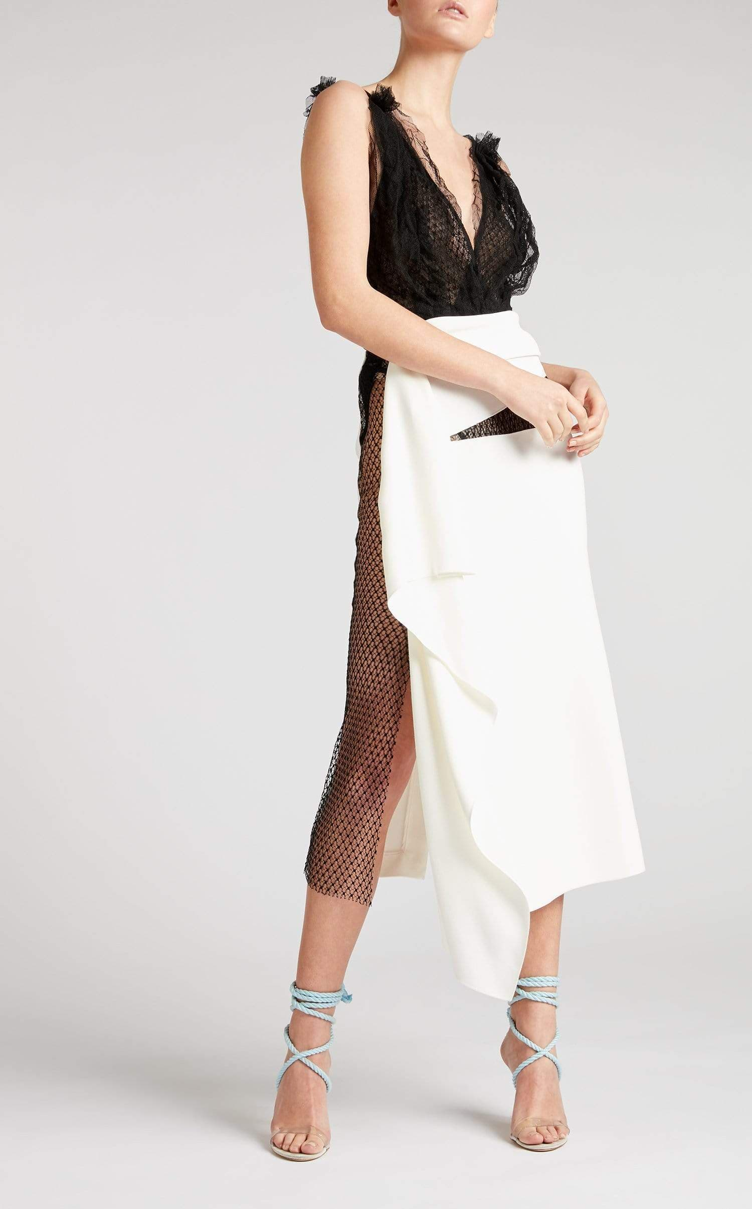 Kelley Skirt In White/Black from Roland Mouret