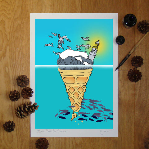Bass Rock Ice Cream illustration signed A3 print
