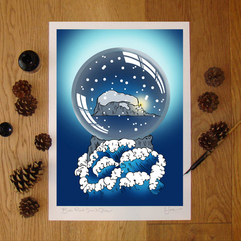 Bass Rock Snow Globe Illustration signed A3 print