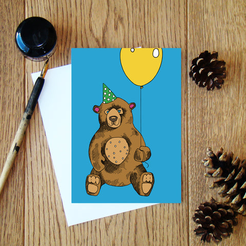 Bear with a Balloon (blue) greeting card