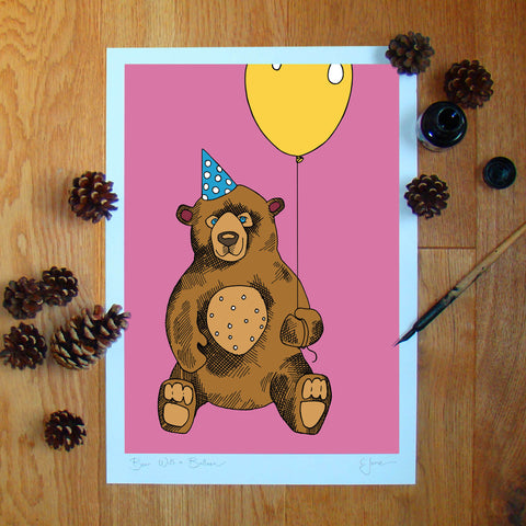 Bear with a Balloon illustration signed A3 print