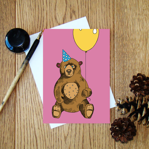 Bear with a Balloon (pink) greeting card