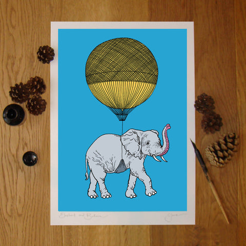 Elephant and Balloon illustration signed A3 print