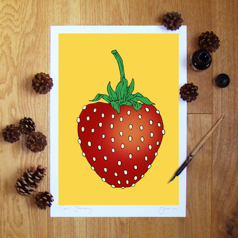 Giant Strawberry illustration signed A3 print