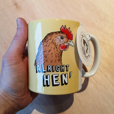 Alright Hen illustrated mug