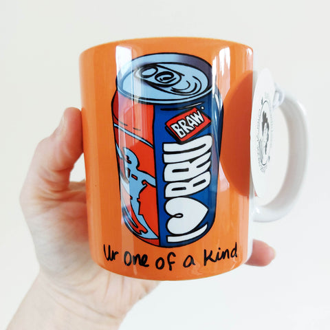 I Love Bru (with text) ' Ur one of a kind' illustrated mug