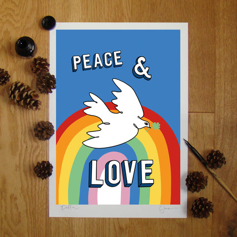 Peace & Love illustration signed A3 print