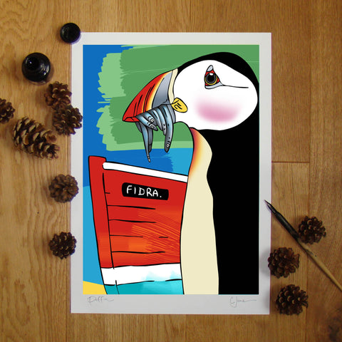 Puffin illustration signed A3 print