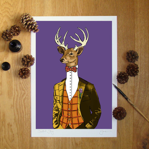 Scottish Stag (purple) illustration signed A3 print