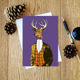 Scottish Stag (purple) greeting card