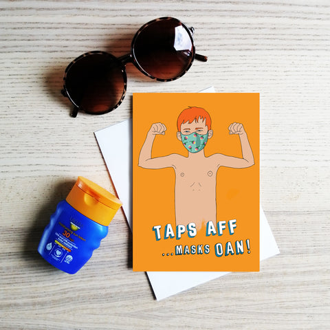 Taps AFF ...masks OAN! greeting card