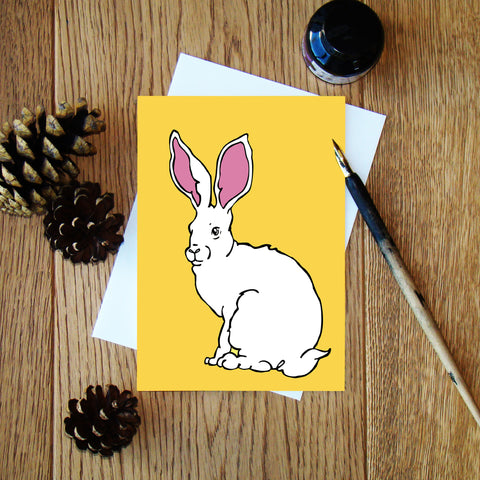 White Hare greeting card