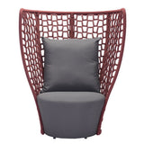 Faye Bay Beach Chair Cranberry & Gray - Suave Home