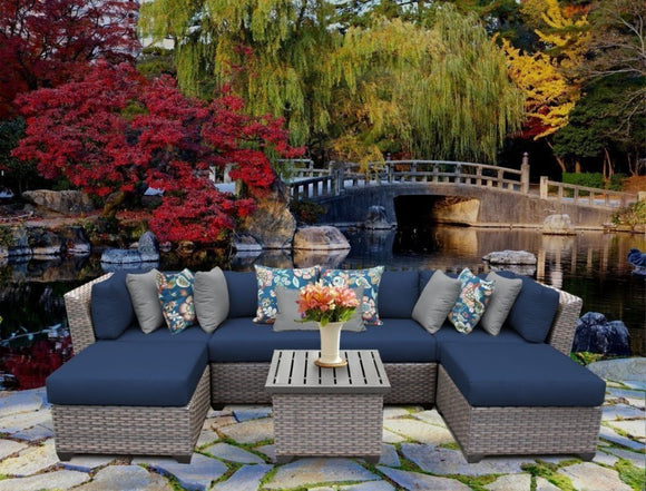 Florence 7 Piece Rattan Sectional Set with Cushions - Suave Home