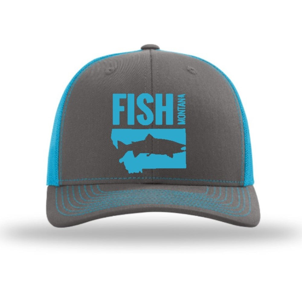 FISH MONTANA - SNAPBACK HAT - CHARCOAL/NEON BLUE