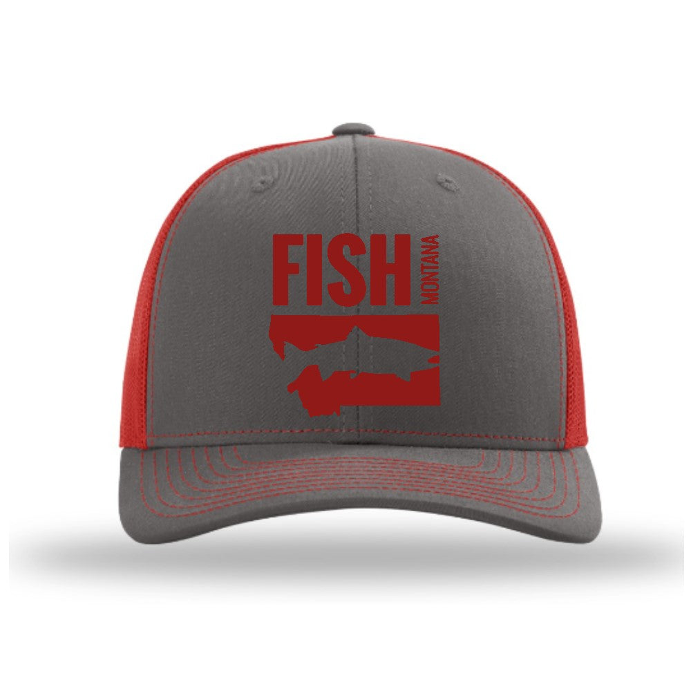 FISH MONTANA - SNAPBACK HAT - CHARCOAL/RED