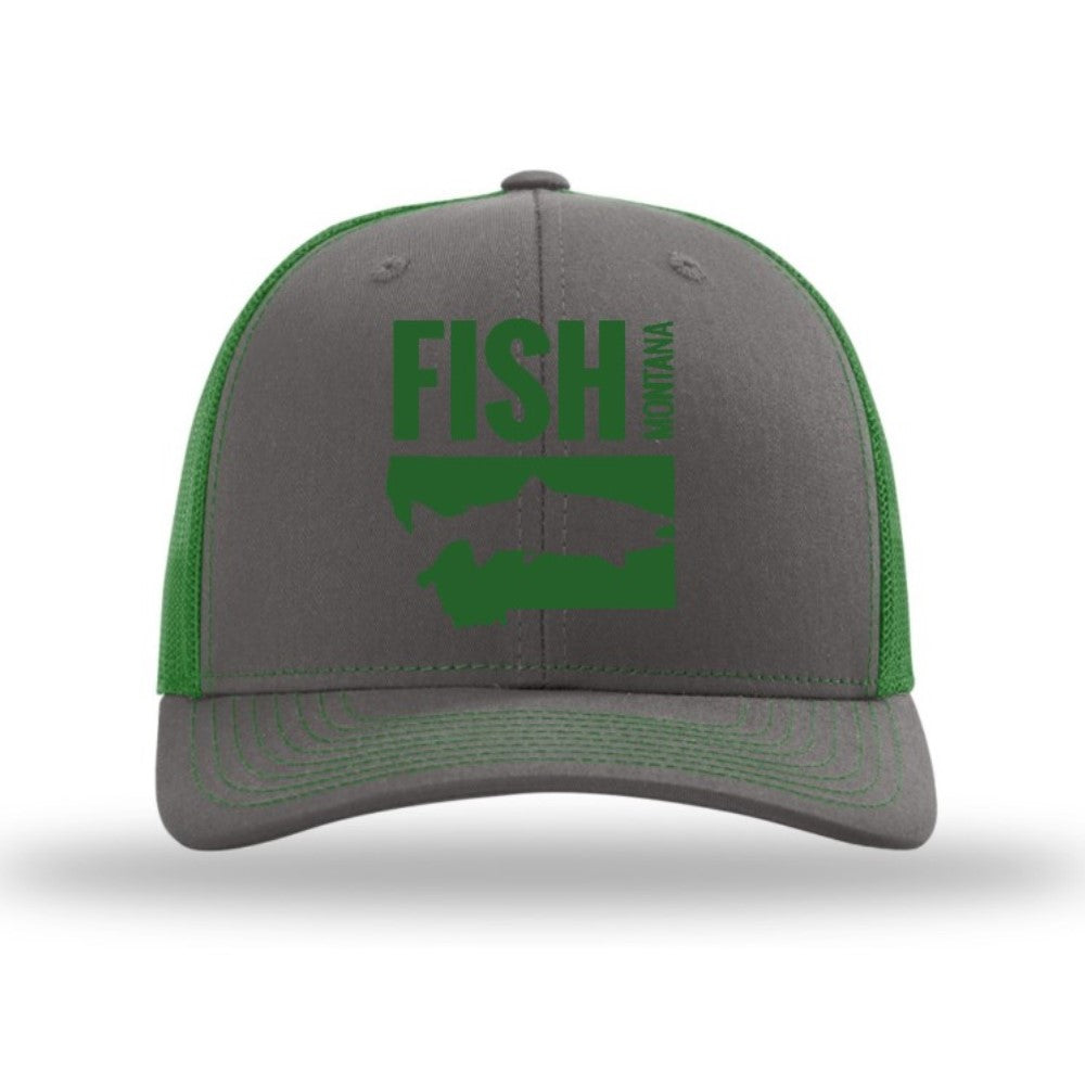 FISH MONTANA - SNAPBACK HAT - CHARCOAL/KELLY