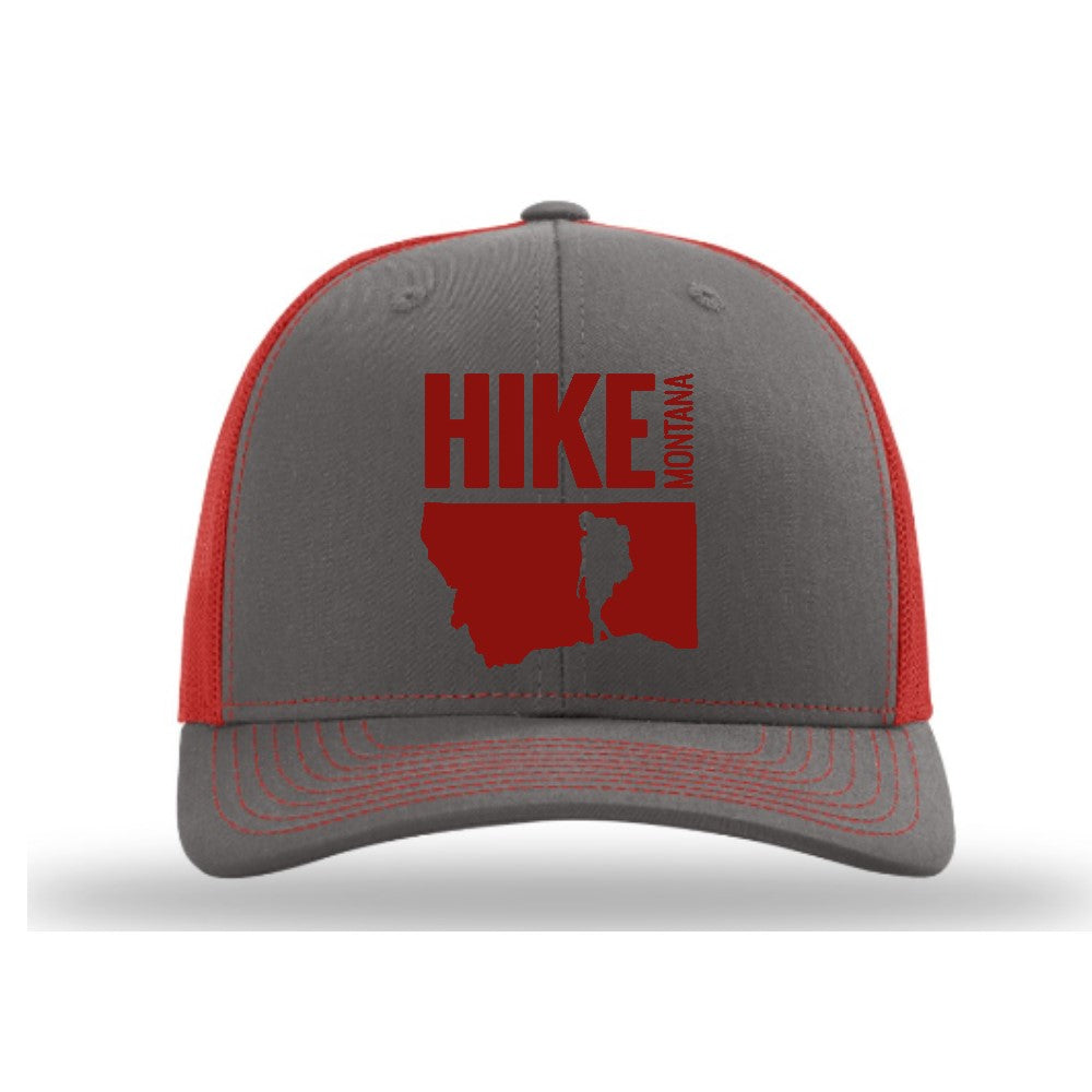 HIKE MONTANA - TRUCKER HAT - CHARCOAL/RED