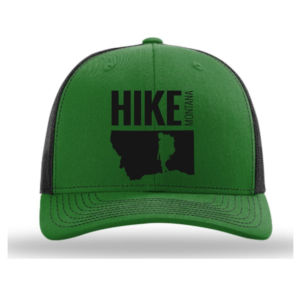 HIKE MONTANA - TRUCKER HAT - KELLY GREEN/BLACK