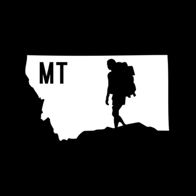 HIKE MONTANA - TRUCK DECAL - STATE AND HIKER