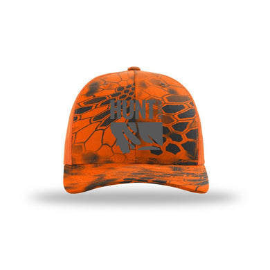 HUNT MONTANA - DEER HUNTING HAT - HUNTER ORANGE - KRYPTEK INFERNO