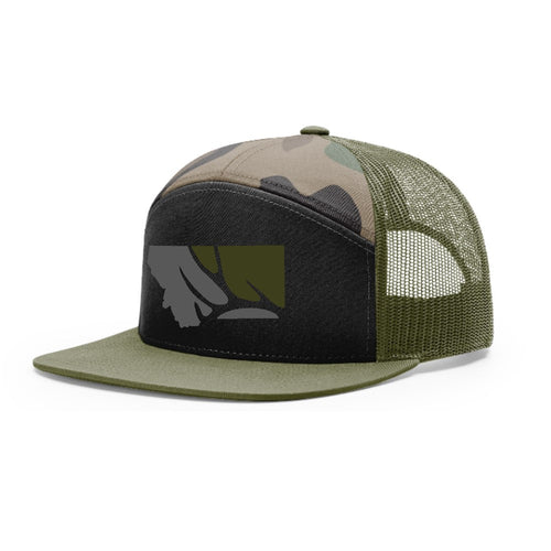 Hunt Montana - State with Deer Antler - Camo/Black/Loden