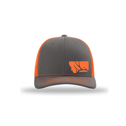 Hunt Montana - Snapback Hat - Charcoal/Neon Orange - DEER ANTLER