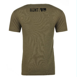 HUNT MONTANA - Short Sleeve Tri Blend T-Shirt - Military Green