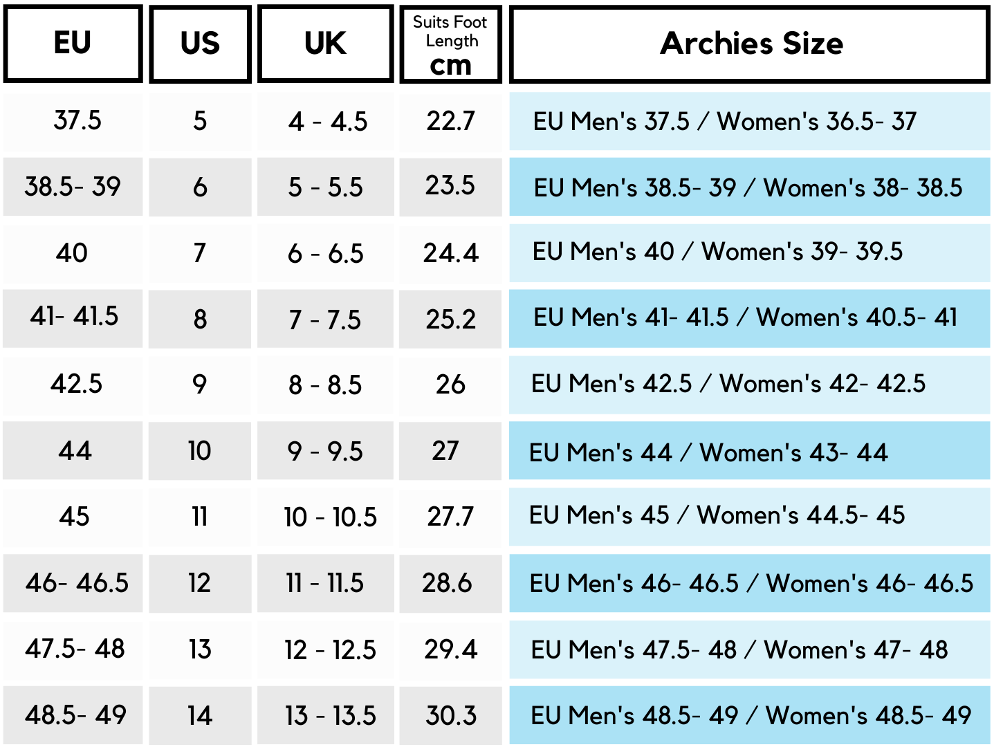 EU Archies Men's Size Chart