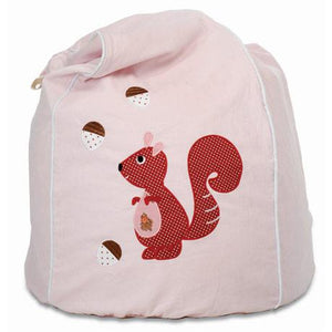 Kid's Bean Bag Cover - Cheeky Squirrel Pink