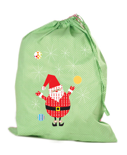 Swinging Santa (Green) Christmas Sack