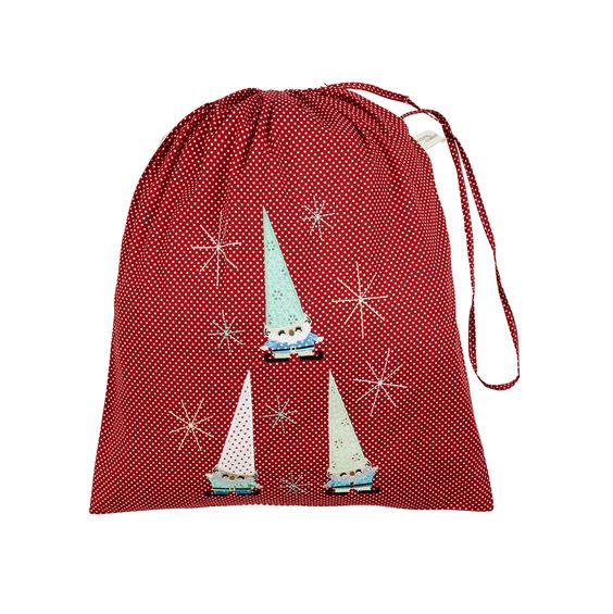 Cheerful Elves (Red) Christmas Sack