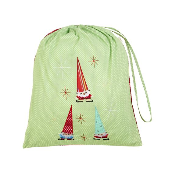 Cheerful Elves (Green) Christmas Sack